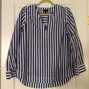 Size M J Crew Blue and White Tunic